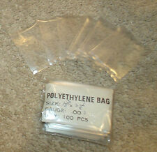 """100 Pc Poly/Polyethylene Bags-1.75 x 2.25""""-Clear Plastic-2 Mil-Stamps/Storage"""