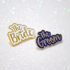 Bride & Groom Wedding Enamel Lapel Pin Badges Set