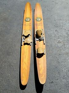 """Cypress Gardens 68"""" Vintage Wood Water Skis Dick Pope Jr. Cabin Decor Man Cave"""