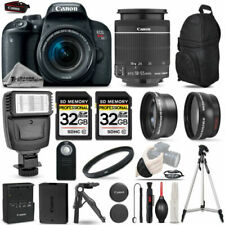 Canon EOS Rebel T7i SLR Camera 800D + 18-55mm IS-3 Lens Kit + Flash+ 64GB + More