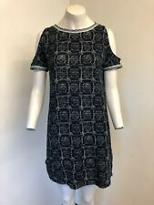 Gorgeous Black & White Cut Out Shoulder Sleeves Cotton Dress From Next - Size 12
