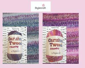 Carnival Tweed. Stylecraft. Chunky. Soft Yarn for knitting & crocheting 100g