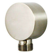 """Bathroom Round Shower Hose Connector 1/2"""" NPT Wall Union Elbow Brushed Nickel"""