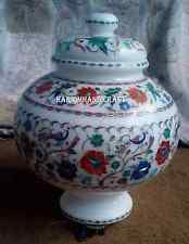 """10"""" White Marble Marquetry Pot Inlaid Arts Hakik Mosaic Work Decor Gifts H2793"""
