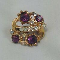 Purple & Clear Rhinestone Cluster Gold Tone Vintage Pin Brooch