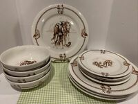 VTG TOTALLY TODAY Western Cowboy & Horse Dinnerware  - 12 Pieces - Service for 4