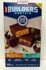 Clif Builders Protein 18 Bars Box: 9 Chocolate Mint & 9 Chocolate Peanut Butter