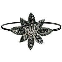 Jeweled Women/'s Black Headband Clear Stones Butterflies New With Tag