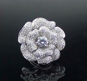 Women's Luxury Big Rose Flower Ring With Shiny 8.00ct Cubic Zircon 925 Silver