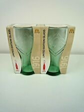 MCDONALDS COCA COLA 125 YEARS LIMITED EDITION 1916 GREEN GLASSES DOUBLE PACK