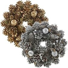 Decorative Artificial Gold & Silver Glitter Pinecone Wreath Tabletop Decoration