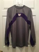 Washington Huskies Football Team Issued Nike Gray Warmup Pullover Shirt Medium