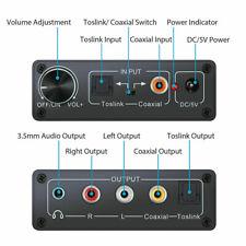 Digital to Analog Audio Converter HiFi RCA Amplifier Decoder Optical Coaxial New