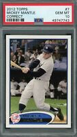 Mickey Mantle New York Yankees 2012 Topps Correct Baseball Card #7 Graded PSA 10