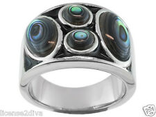 STAINLESS STEEL & GENUINE ABALONE SHELL BLACK ENAMEL CIGAR BAND RING! NEW!