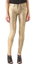 NWT J Brand 801 Super Skinny in Crinkle Coated Metallic Gold Stretch Jeans 25