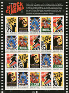 US #4336-4340 (4340a), 2008 42c Vintage Black Cinema, Pane of 20 MNH