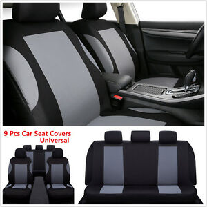 Car Seat Covers - Gray/Black Polyester Cloth - Front & Rear Headrests Bench 9Pcs