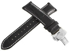 Aqua Master Mens 22mm Black Leather Watch Band Strap W/ Stainless Steel Buckle