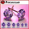 STERLING SILVER Purple Amethyst ROUND STUD EARRINGS made with Swarovski Crystal
