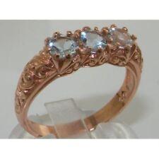 Luxury 9ct Rose Gold Ladies Victorian Style Aquamarine Trilogy Ring
