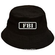 100% Cotton Military Black Bucket Cap Hat FBI