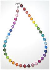 Hals Kette echte Polarisperlen bunt silber Regenbogen Perlenkette NEU Collier