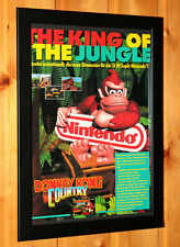 Donkey Kong Country Nintendo SNES Super NES Vintage Small Poster Framed Retro