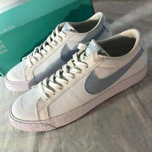NEW Nike SB Blazer Zoom Low CNVS Mens Size 10 White Armory Blue Shoes 889053-100