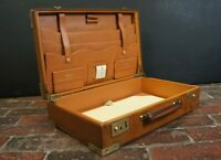 Beautiful Tan Leather Vintage Writing Suitcase Stunning Interior