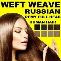 WEFT WEAVE FULL HEAD 100% RUSSIAN REMY HUMAN HAIR EXTENSIONS BROWN BLONDE BLACK