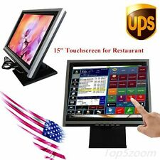 """Touchscreen LCD Monitor POS Stand Restaurant Pub Retail USB 15"""" inch 4-Wire VGA"""