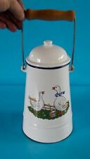 Ancien Pot à Lait émail Oie poubelle de table vintage 2 litres environ