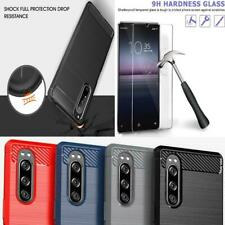 For Sony Xperia 1 II 5G Case, Carbon Fibre Gel Phone Cover + 9H Tempered Glass