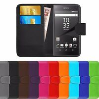 Premium Luxury Leather Flip Wallet Book Case Cover For Sony Xperia Z5 Compact