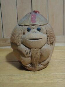Carved coconut monkey