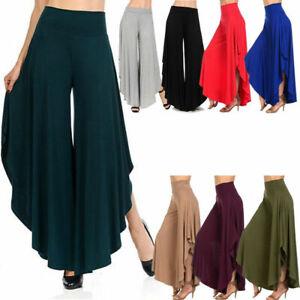 Women's Loose Waterfall Drape High Waist Pants Dancewear Wide Leg Harem Trousers