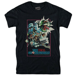 THE REAL GHOSTBUSTERS T-shirt 80's Cartoon -Slimer,Stay Puft, Eagon, Rey,Ecto 1