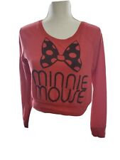 Disney Parks Minnie Mouse Womens Size Small Crop Top Red Long Sleeve Knit Shirt