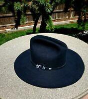Resistol Men's Black Cowboy Hat Size 7 1/4 4XXXX  Beaver Long Oval TX