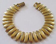 NAPIER signed VINTAGE MODERNIST gold tone link bracelet smooth & textured VGUC