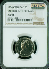 1974 CANADA 25 CENTS NGC MAC MS-68 PQ 2ND FINEST GRADE MAC SPOTLESS .