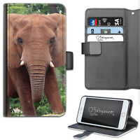 BROWN ELEPHANT PHONE CASE, LEATHER WALLET FLIP CASE, COVER FOR SAMSUNG, APPLE