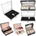 3/4/6/12 Gird Slots Leather Watch Case Gift Box Display Jewelry Storage Holder H