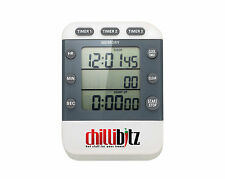 chillibitz Triple Multi 3 Zone Count Down Count Up Digital Kitchen Timer & Clock