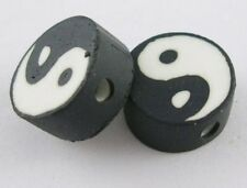 10 Yin Yang Black & White Polymer Clay Flat Round 10mm Beads. (BOX61)
