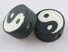 10 Yin Yang Black & White Polymer Clay Flat Round 10mm Beads. (BOX61)