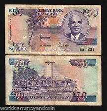 MALAWI 50 KWACHA P28A 1990 DR.BANDA BOAT ROOSTER RARE AFRICA CURRENCY MONEY NOTE