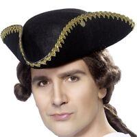 Mens Unisex Fancy Dress Dick Turpin Tricorn Hat Pirate Hat Black New by Smiffys