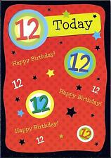 12th BIRTHDAY CARD - AGE 12 - RED, BLUE